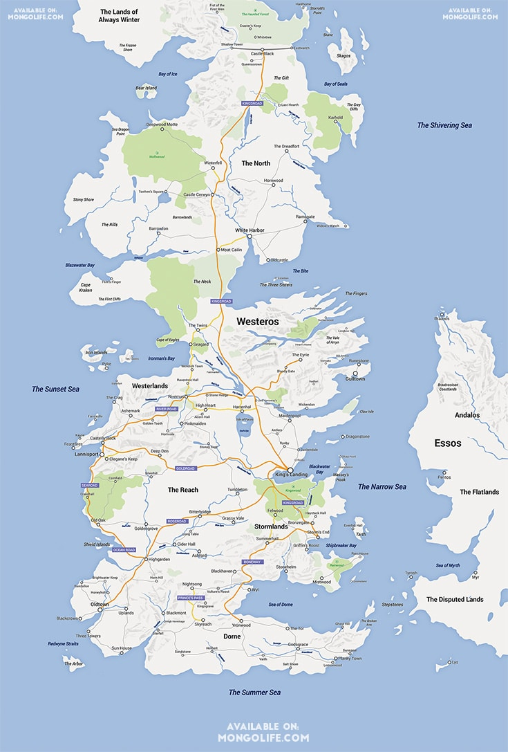 Game of Thrones Westeros in Google Maps