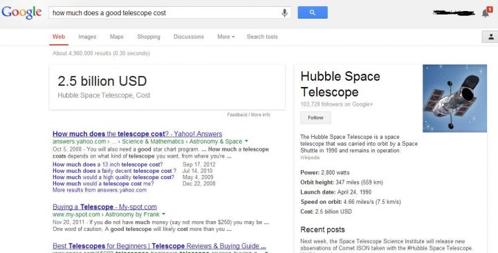 How much is a good telescope Google?