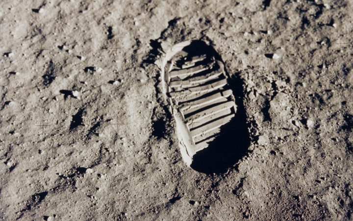 Edwin Aldrin's footprint on the moon