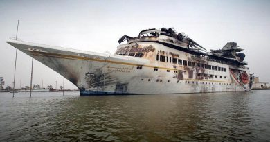 Saddam Hussein's yacht after US jets bombed it