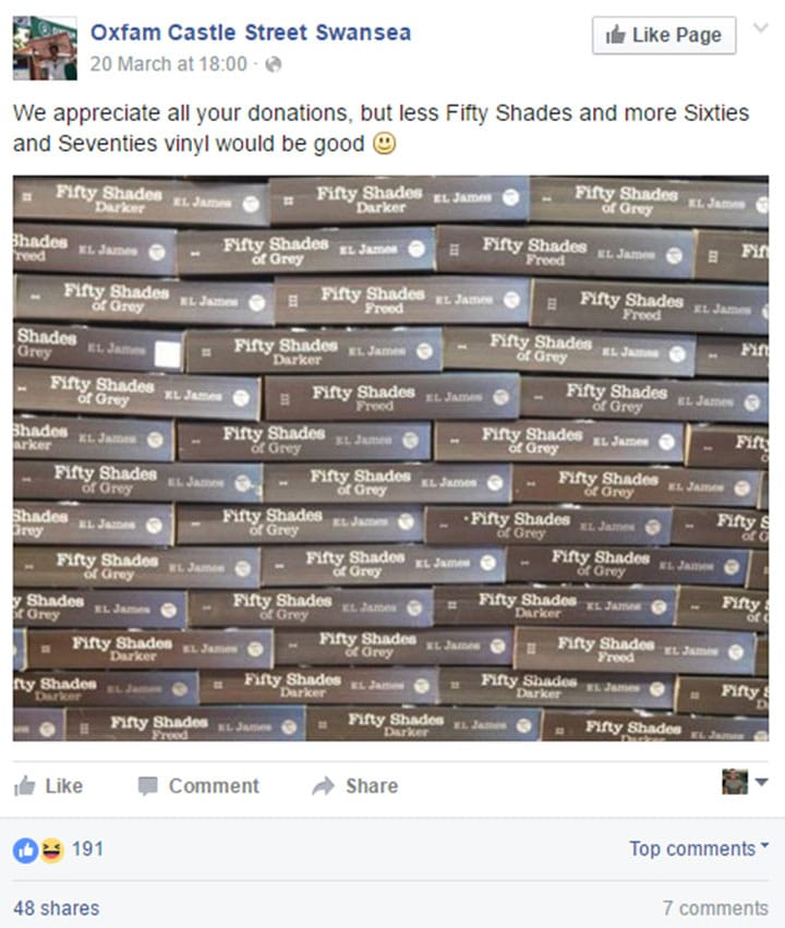 A post from Oxfam Swansea's Facebook