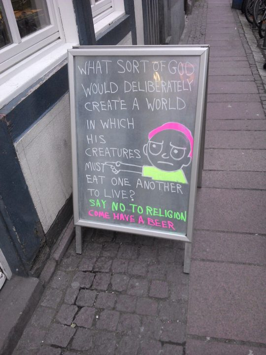 atheist pub sign