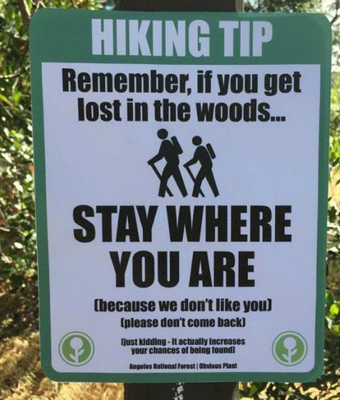 stay where you are hiking sign