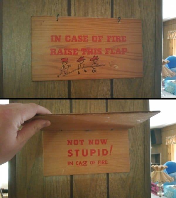 in case of fire raise flap
