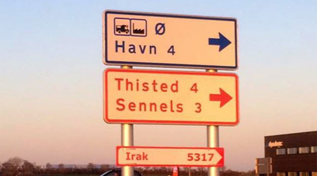 refugee road signs