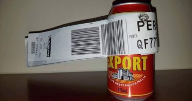 Checked in can of beer