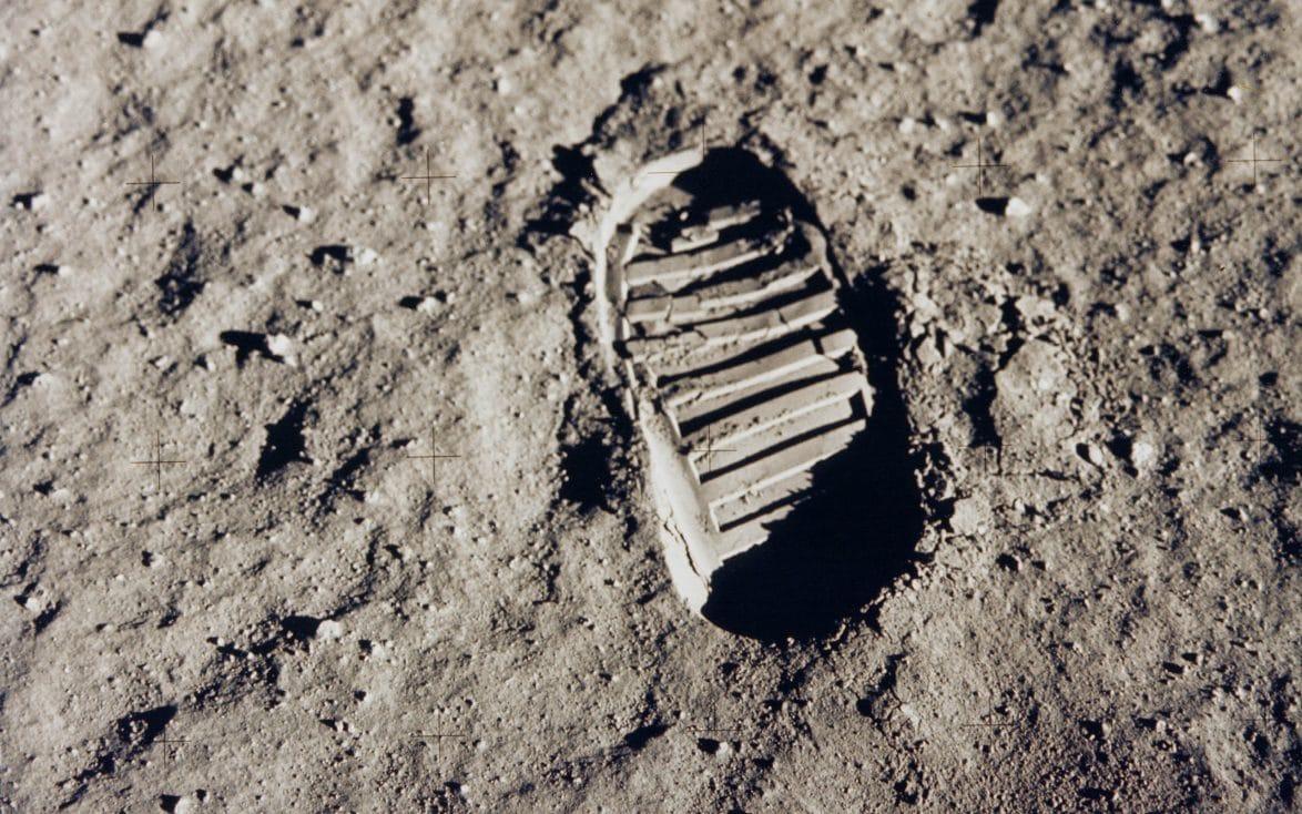 Edwin Aldrin's footprint on the moon