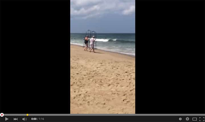 North Carolina couple attempt to enter sea with home made shark cages