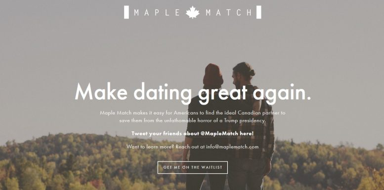 MapleMatch to help US singles find love in Canada if Trump wins