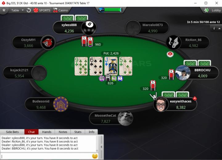 The PokerStars UK poker table in action